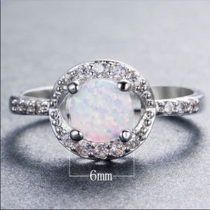 Fire Opal white gold ring
